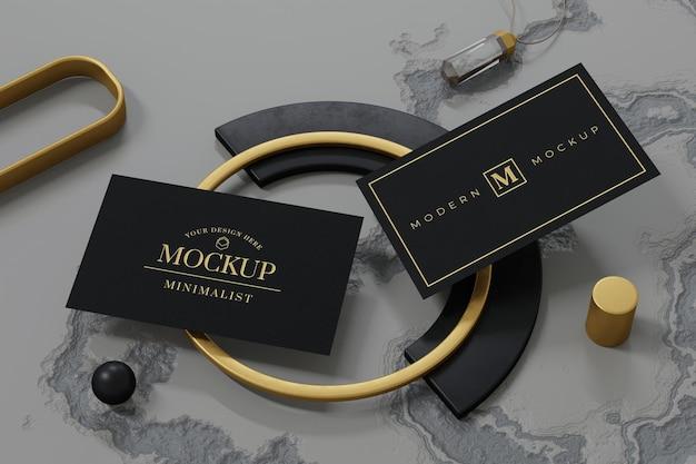 Projeto de maquete de cartão de visita preto em renderização 3d