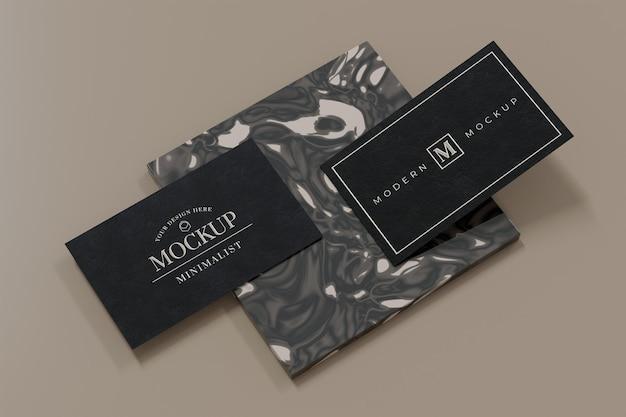 Projeto de maquete de cartão de visita preto em renderização 3d Psd Premium