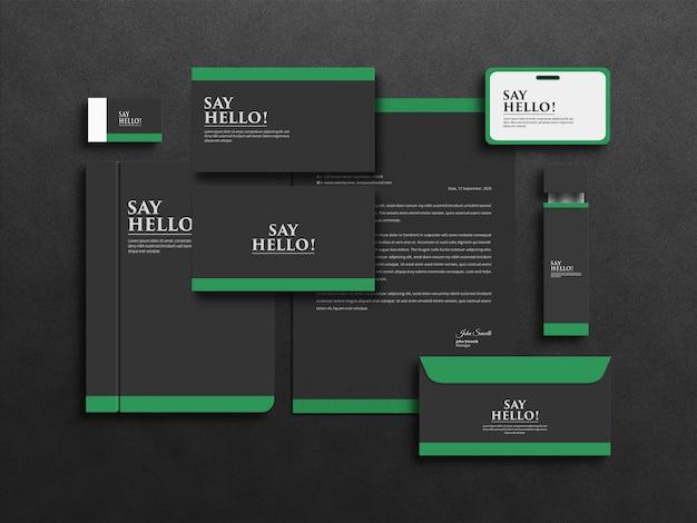 Projeto de maquete de conjunto de papelaria empresarial realista