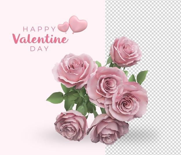 Projeto de maquete de decoração de flores de rosas para o dia dos namorados