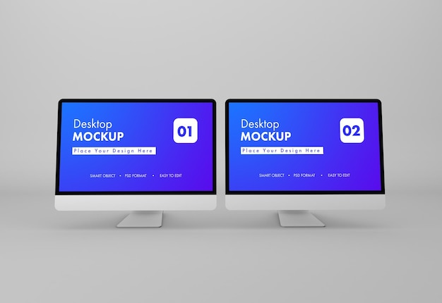 Projeto de maquete de desktop em renderização 3d