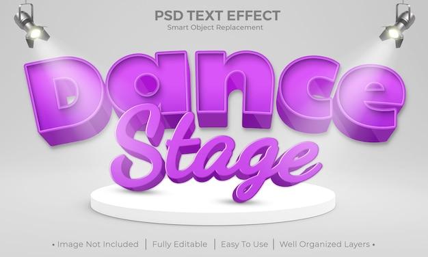 Projeto de maquete de efeito de texto de palco de dança