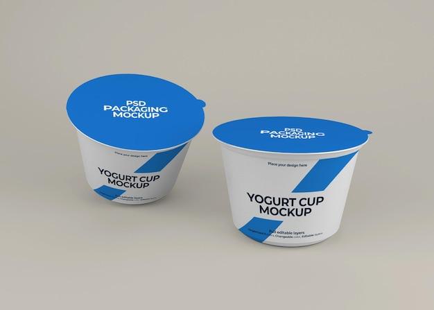 Projeto de maquete de embalagem de iogurte isolado