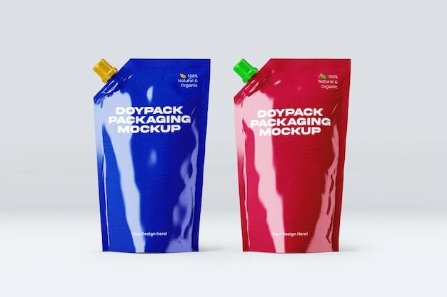 Projeto de maquete de embalagem doypack duplo isolado