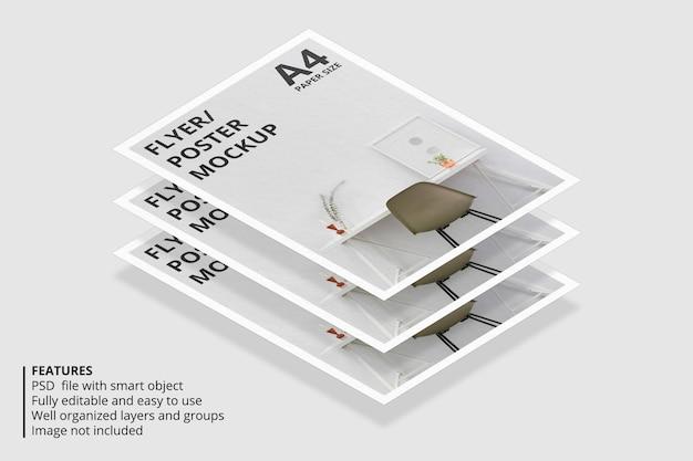 Projeto de maquete de folheto ou papel flutuante