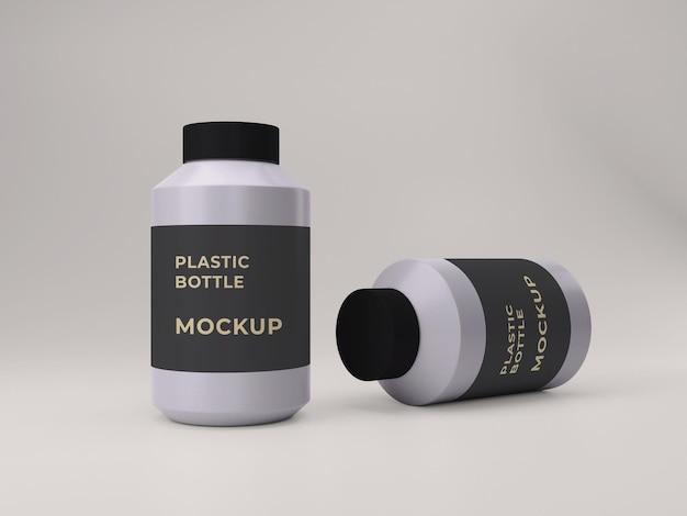 Projeto de maquete de frasco de suplemento de plástico renderizado em 3d