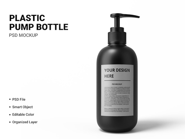 Projeto de maquete de garrafa de bomba de plástico isolado