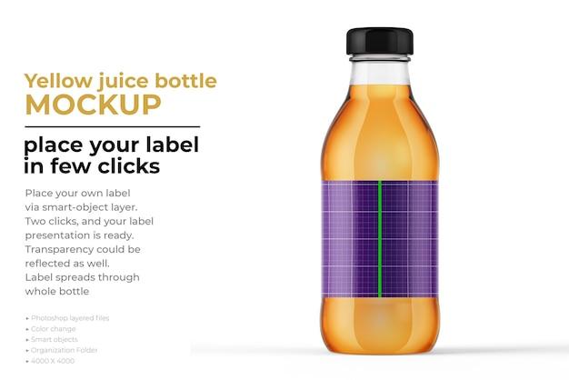 Projeto de maquete de garrafa de suco amarelo em renderização 3d