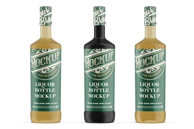 Projeto de maquete de garrafa de vidro de licor em renderização 3d
