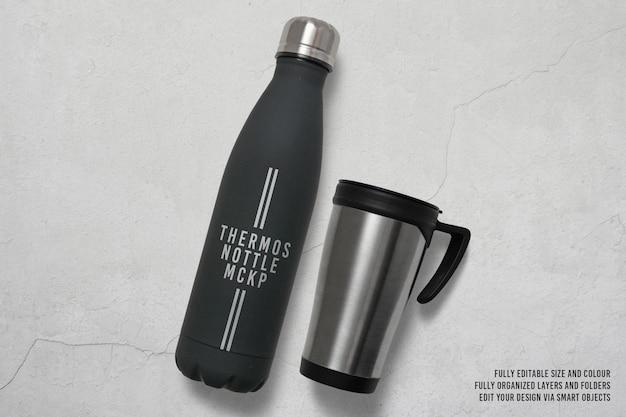 Projeto de maquete de garrafa térmica isolado
