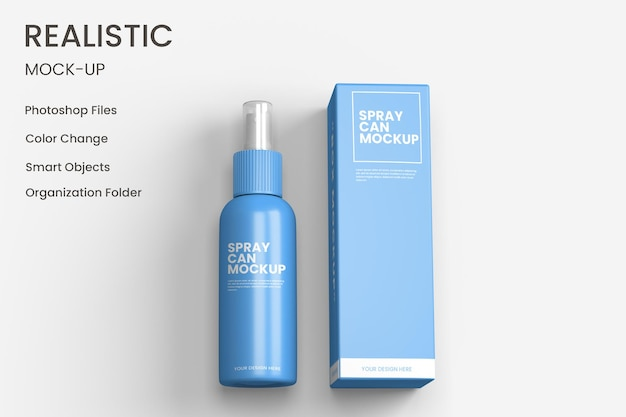 Projeto de maquete de lata de spray cosmético isolado