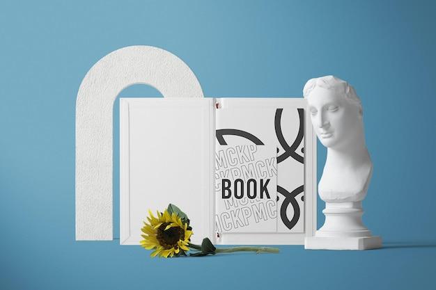 Projeto de maquete de livro aberto de vista frontal