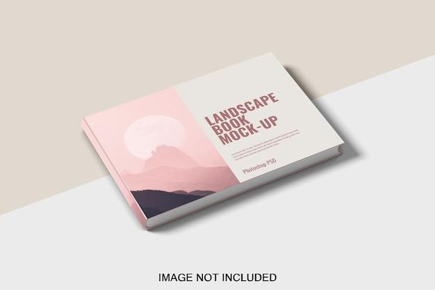 Projeto de maquete de livro de capa dura com paisagem realista isolado