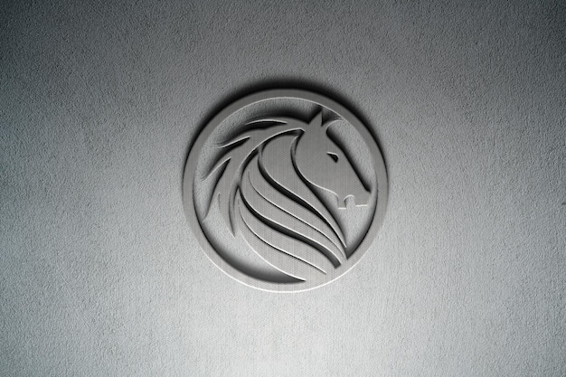 Projeto de maquete de logotipo 3d realista na parede