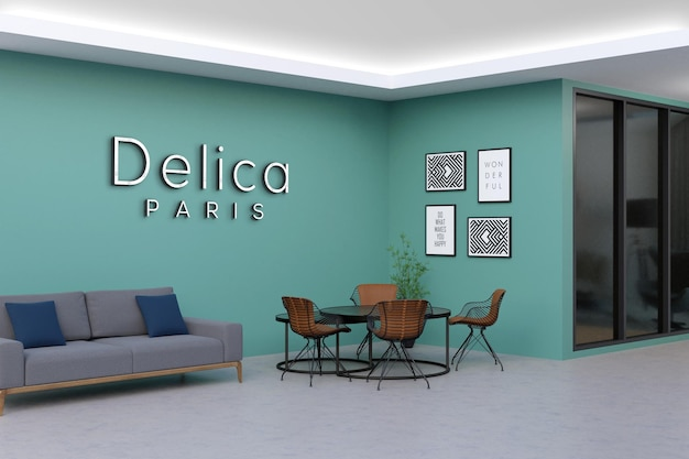 Projeto de maquete de logotipo de parede de escritório moderno