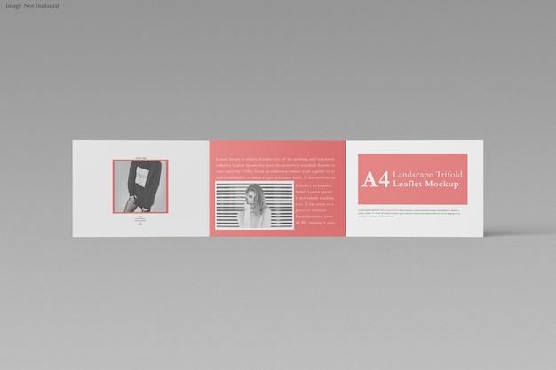 Projeto de maquete de paisagem com três dobras a4 folheto isolado