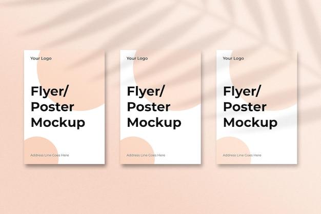 Projeto de maquete de panfletos com sobreposição de sombra