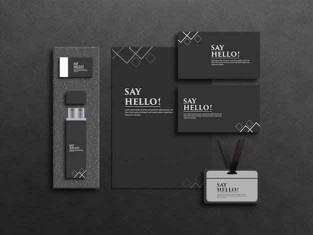 Projeto de maquete de papelaria empresarial realista
