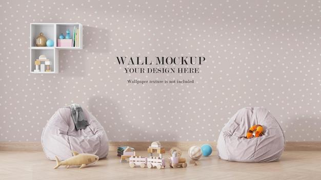 Projeto de maquete de parede de quarto infantil Psd Premium