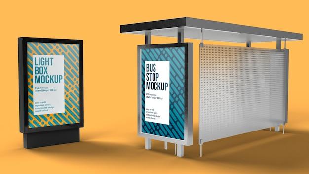 Projeto de maquete de ponto de ônibus e caixa de luz isolado