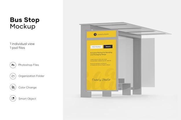 Projeto de maquete de ponto de ônibus isolado