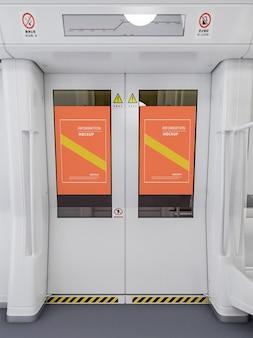 Projeto de maquete de pôster de porta de transporte público em renderização 3d