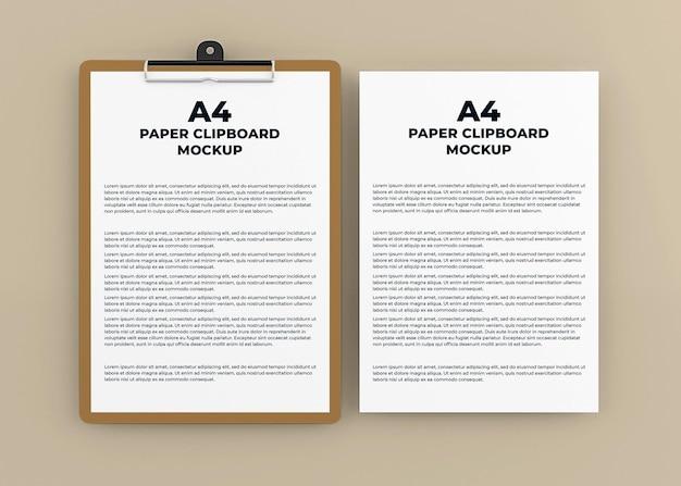 Projeto de maquete de prancheta de papel em renderização 3d isolada