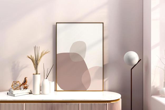 Projeto de maquete de quadro em quarto rosa em renderização 3d
