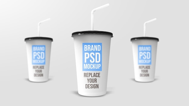 Projeto de maquete de renderização 3d de copo de plástico