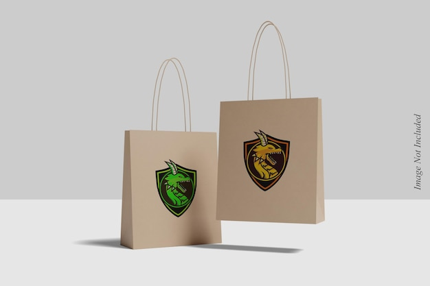 Projeto de maquete de sacola de compras flutuante isolado