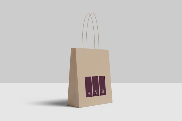 Projeto de maquete de sacola de compras isolado