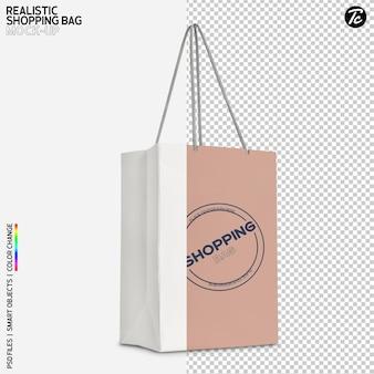 Projeto de maquete de sacola de papel branco isolado