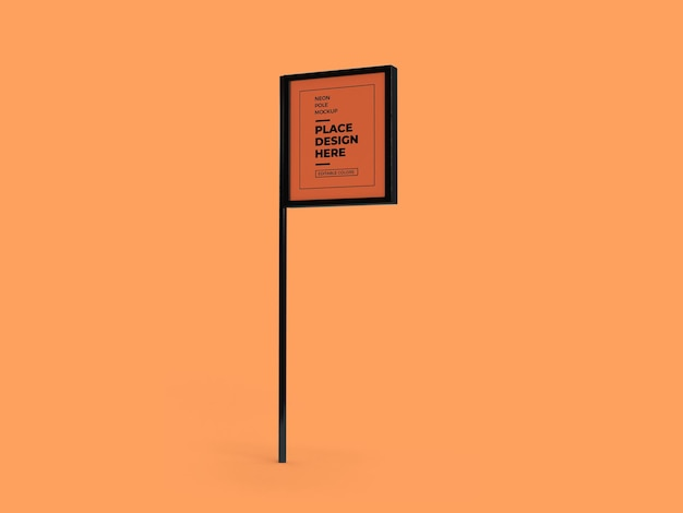 Projeto de maquete de sinal de pólo de néon isolado