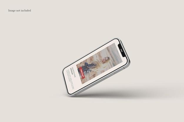 Projeto de maquete de smartphone flutuante isolado