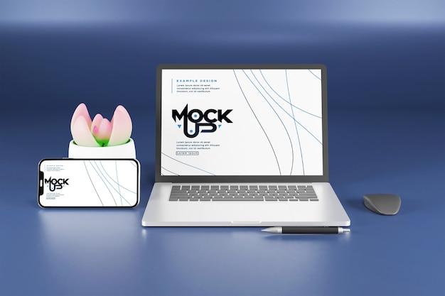 Projeto de maquete de tela de laptop e smartphone