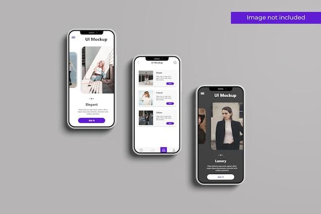 Projeto de maquete de três smartphones em renderização 3d
