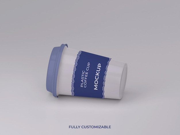 Projeto de maquete de xícara de café de plástico renderizado em 3d