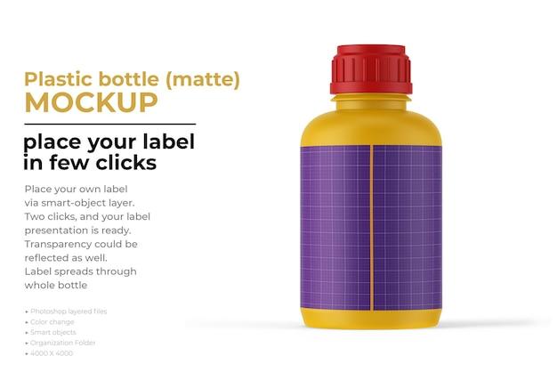 Projeto de maquete fosco de garrafa de plástico em renderização 3d