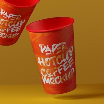 Projeto de maquete gravitacional do copo de papel em renderização 3d