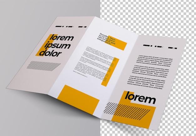 Projeto de maquete isolado de folheto com três dobras