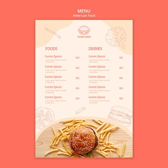 Projeto de menu conceito comida americana