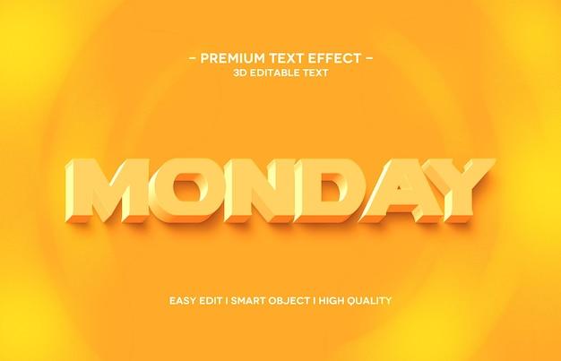 Projeto de modelo de efeito de texto 3d para segunda-feira