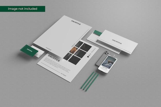 Projeto de modelo de papelaria em perspectiva em renderização 3d