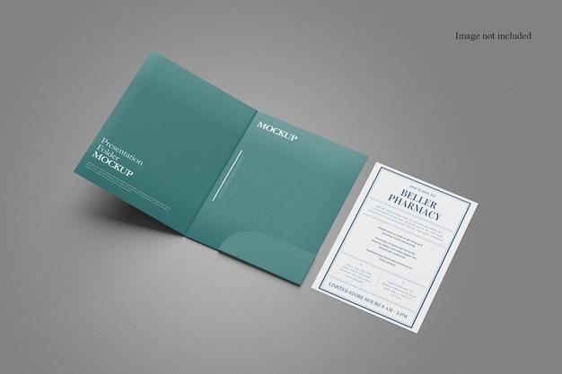 Projeto de modelo de pasta de documentos em perspectiva