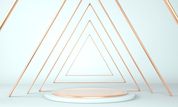 Projeto de plataforma de pedestal em renderização 3d com formas geométricas