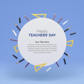 Projeto de postagem do dia mundial dos professores com círculo de forma redonda para seu texto