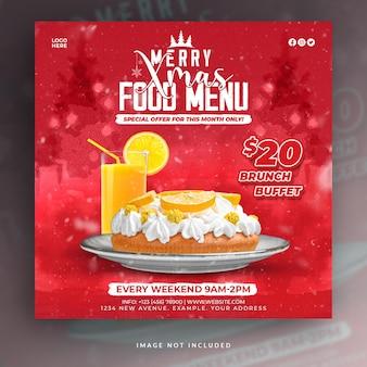 Projeto de postagem nas redes sociais do restaurante merry christmas