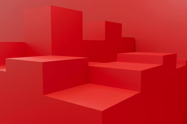 Projeto de renderização 3d abstrato vermelho do pódio