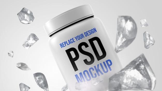 Projeto de renderização 3d da maquete de garrafa de soro de leite