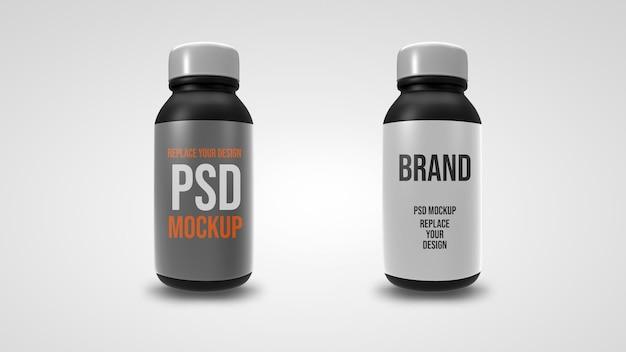 Projeto de renderização 3d de maquete de garrafa pequena